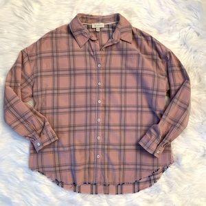 Lucky brand pink plaid oversized button down shirt